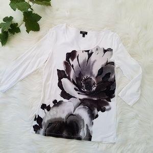 Talbots Petites Black White Beaded Floral Knit Top